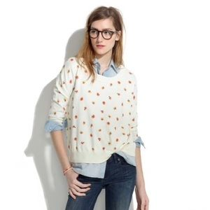 Madewell Floral Pansy Scoop Neck Off-White Sweater